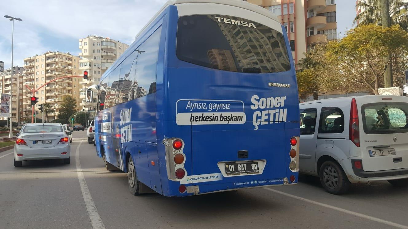 Soner Çetin'den belediye aracıyla seçim propagandası